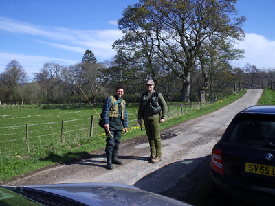 Mike and Sandy away for a cast on the Monymusk Fishings