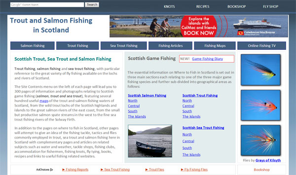 Homepage screenshot of Trout and Salmon Fishing in Scotland