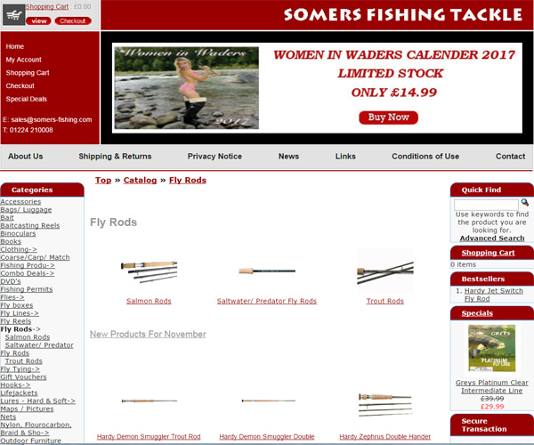 Screenshot of the Somers Fishing Tackle website