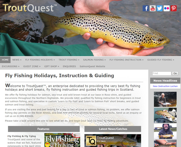 Screenshot of the Trout Quest website