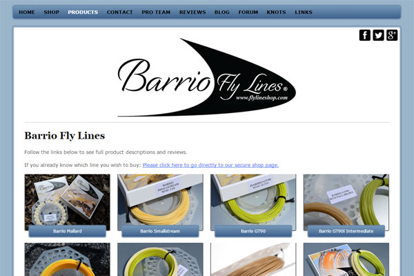 Screenshot of the Barrio Fly Lines website