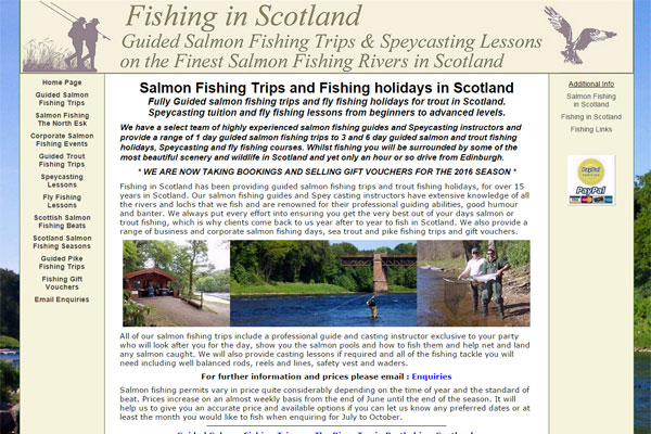 Screenshot of the Fishing in Scotland website